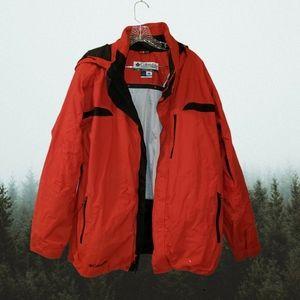Columbia Mens Red Black Ski Jacket Large Hooded
